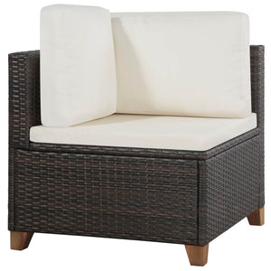Garden Lounge Set, 4 Piece, with Cushions, Poly Rattan, Brown and Cream White