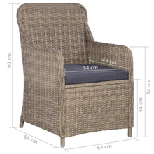 Load image into Gallery viewer, Outdoor Chairs with Cushions, Poly Rattan, Brown and Dark Grey (Set of 2)