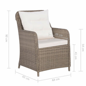 Outdoor Chairs with Cushions, Poly Rattan, Brown and Cream White (Set of 2)