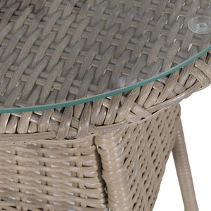Bistro Set, 3 Piece, with Cushions, Poly Rattan, Brown and Dark Grey