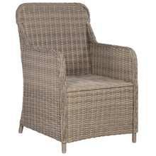 Load image into Gallery viewer, Bistro Set, 3 Piece, with Cushions, Poly Rattan, Brown and Dark Grey