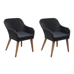 Outdoor Chairs with Cushions, Poly Rattan and Solid Acacia Wood, Black and Dark Grey (Set of 2)