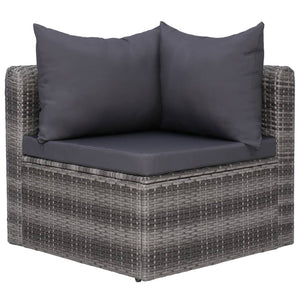 Garden Sofa Set, 6 Piece, with Cushions & Pillows, Poly Rattan, Grey