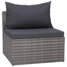 Load image into Gallery viewer, Garden Sofa Set, 6 Piece, with Cushions & Pillows, Poly Rattan, Grey