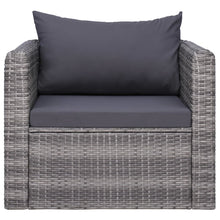 Load image into Gallery viewer, Garden Chair with Cushion and Pillow, Poly Rattan, Grey