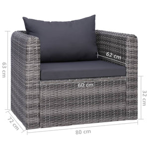 Garden Chair with Cushion and Pillow, Poly Rattan, Grey