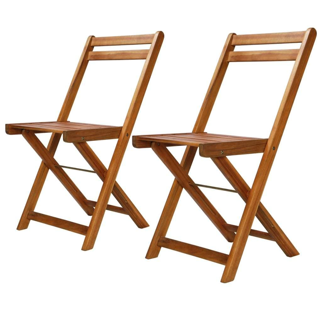 Outdoor Bistro Chairs, Solid Acacia Wood (Set of 2)