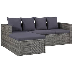 4 Piece Garden Lounge Set, with Cushions, Poly Rattan, Grey