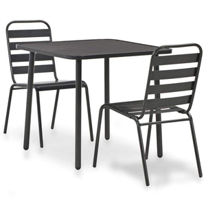 Bistro Set, Steel, Dark Grey (3 Piece)