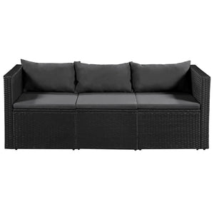 Garden Sofa, Poly Rattan, Black and Grey, 3-Seater