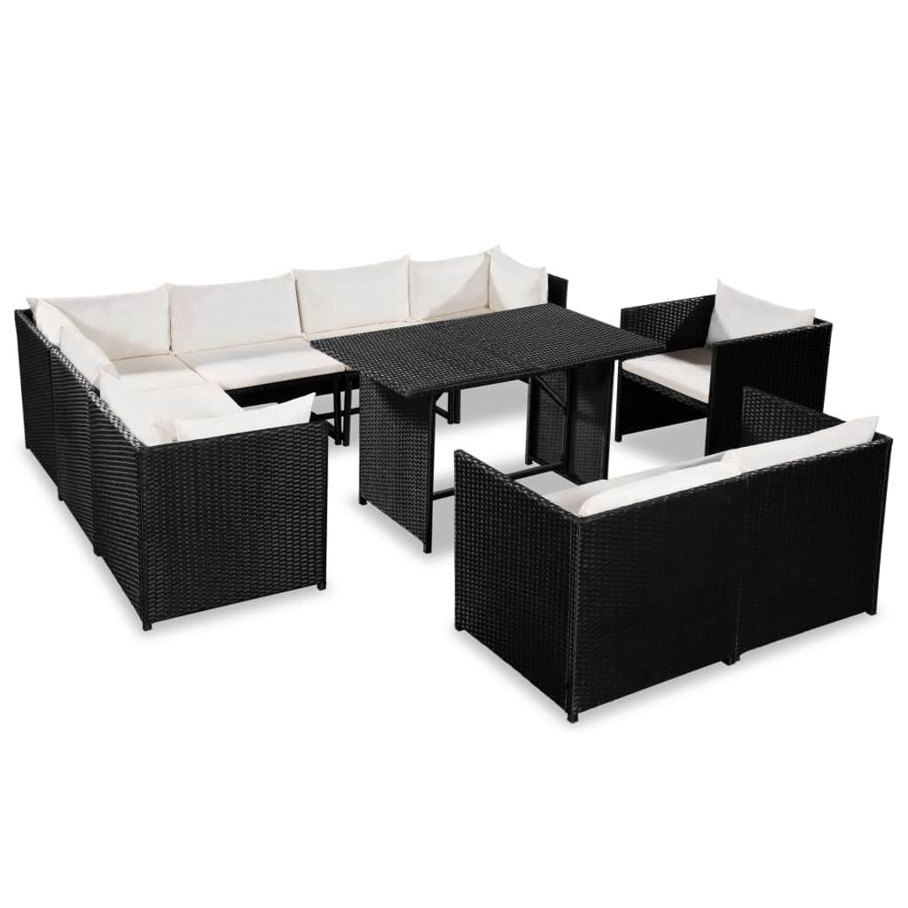 Garden Lounge Set with Cushions, Poly Rattan, Black (9 Piece)