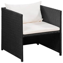 Load image into Gallery viewer, Garden Lounge Set with Cushions, Poly Rattan, Black (9 Piece)