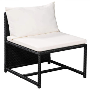 Garden Lounge Set, 8 Piece, with Cushions, Poly Rattan, Powder Coated Steel, Black and Cream White
