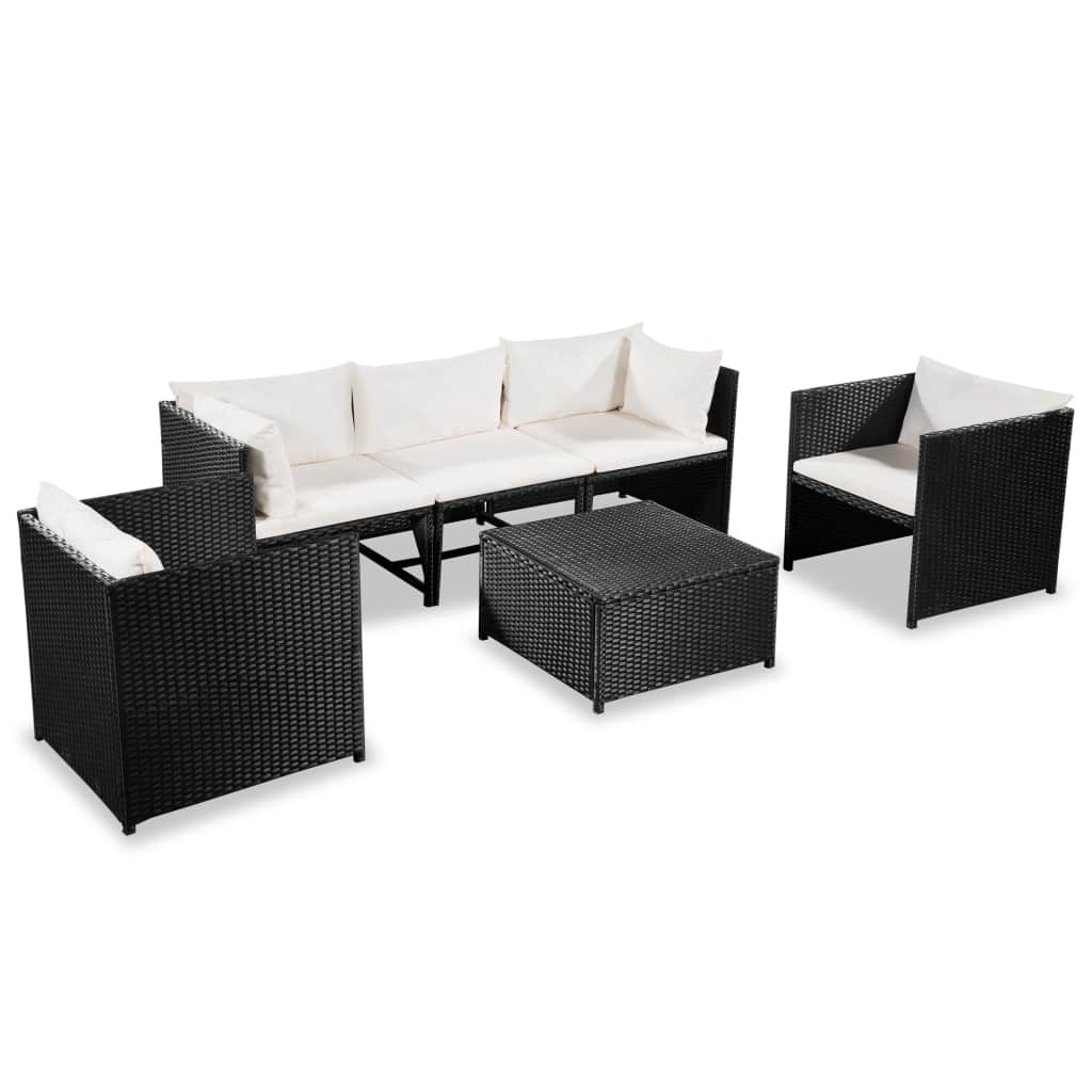 Garden Lounge Set, 6 Piece, with Cushions, Poly Rattan, Steel Frame, Black and Cream White