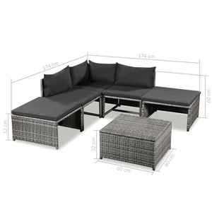 Garden Lounge Set, 6 Piece, with Cushions, Poly Rattan, Grey and Dark Grey
