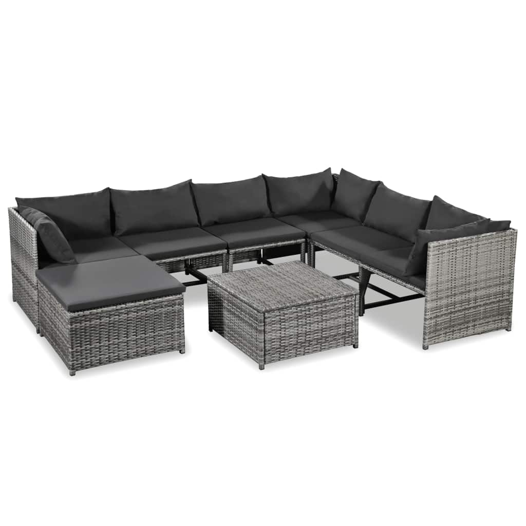 Garden Lounge Set, 8 Piece, with Cushions, Poly Rattan, Grey and Dark Grey