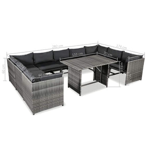 Garden Lounge Set with Cushions, Poly Rattan, Grey (10 Piece)