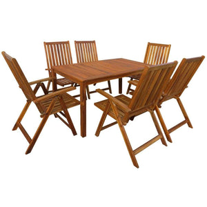 Outdoor Dining Set, 7 Piece, Solid Acacia Wood, Oil Finish
