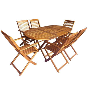 Folding Outdoor Dining Set, 7 Piece, Solid Acacia Wood, Natural Oil Finish