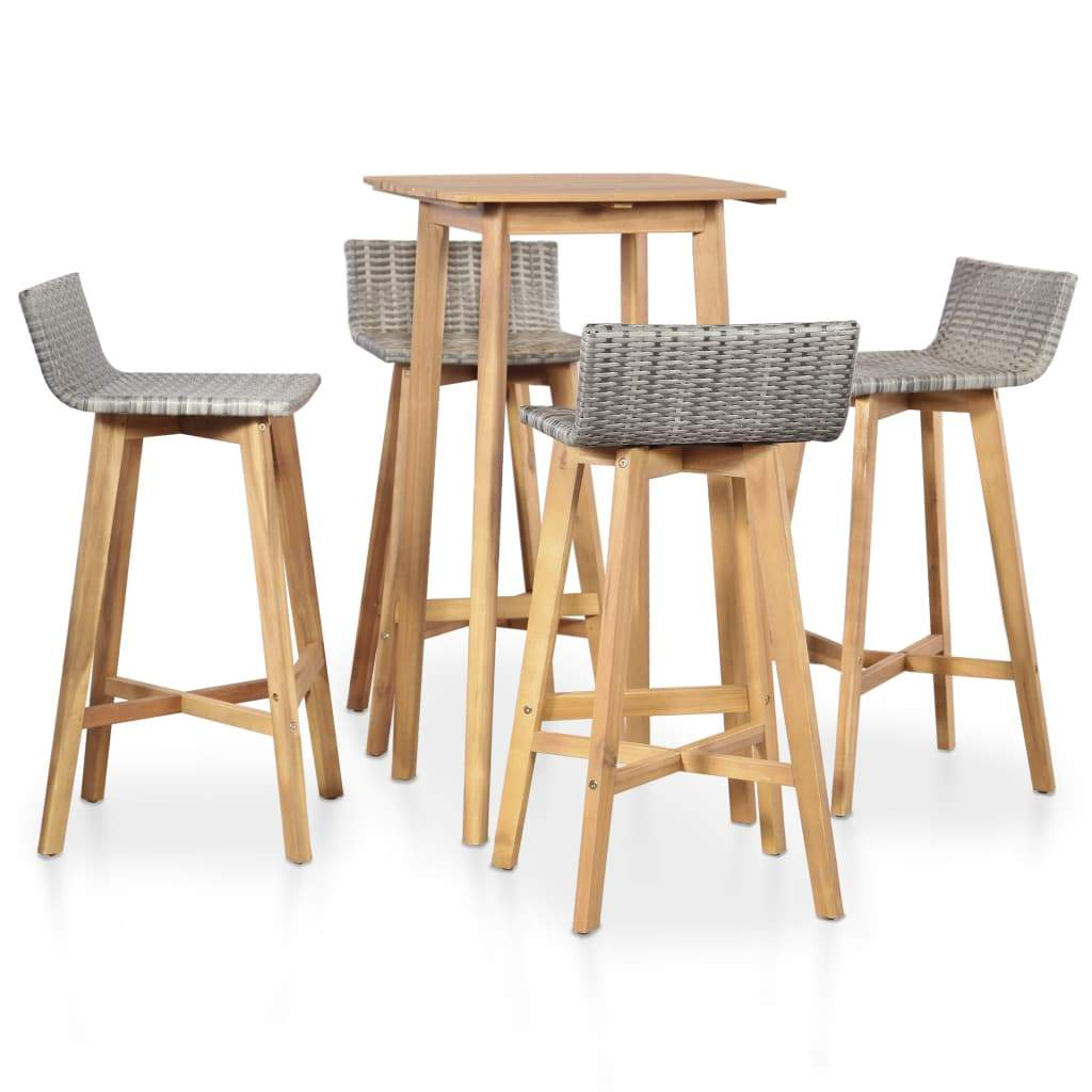 Outdoor Dining Set, 5 Piece, Solid Acacia Wood, Brown and Light Grey