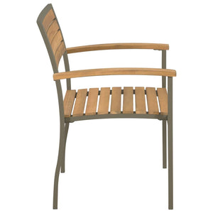Outdoor Chairs, Stackable, Solid Acacia Wood and Steel (Set of 2)