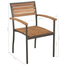 Load image into Gallery viewer, Outdoor Chairs, Stackable, Solid Acacia Wood and Steel (Set of 2)