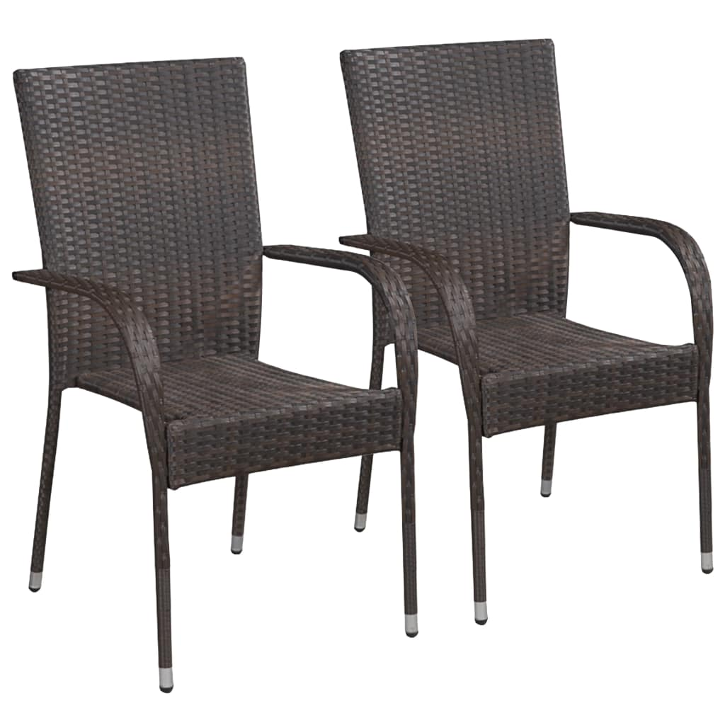 Outdoor Chairs, Stackable, Poly Rattan, Brown (Set of 2)