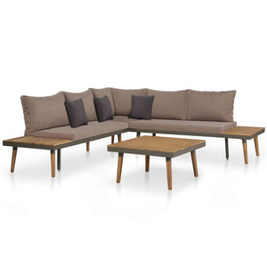 Garden Lounge Set, 4 Piece, with Cushions, Solid Acacia Wood, Brown