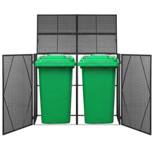 Load image into Gallery viewer, Double Wheelie Bin Shed, Poly Rattan, Black, 153x78x120cm