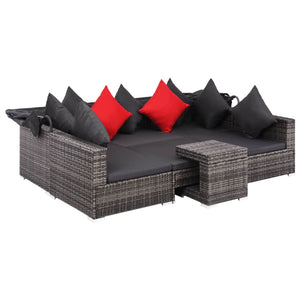 Garden Lounge Set, 7 Piece, with Cushions, Poly Rattan, Powder Coated Steel Frame, Grey and Dark Grey