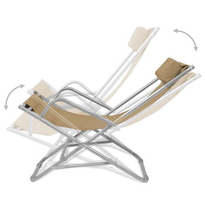 Reclining Deck Chairs, Steel, Taupe (Set of 2)