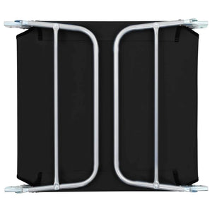 Folding Sun Loungers,  Steel and Fabric, Black (Set of 2)