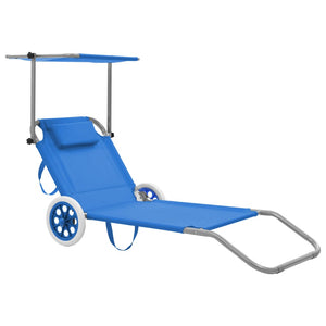 Folding Sun Lounger, with Canopy and Wheels, Steel, Blue