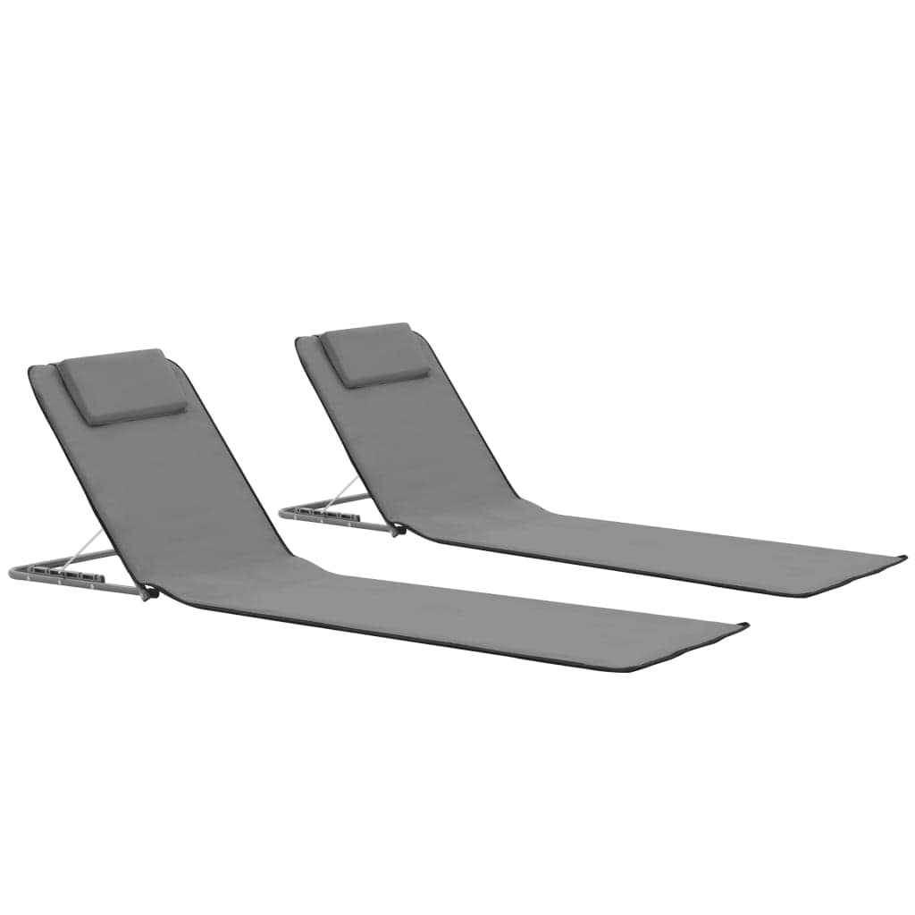 Folding Beach Mats, Steel and Fabric, Grey (Set of 2)