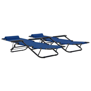 Folding Sun Loungers, with Footrests, Steel, Blue (Set of 2)