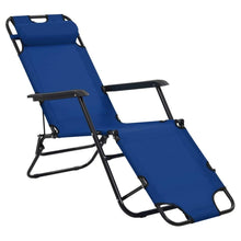 Load image into Gallery viewer, Folding Sun Loungers, with Footrests, Steel, Blue (Set of 2)
