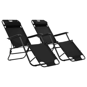 Folding Sun Loungers, with Footrests, Steel, Black (Set of 2)