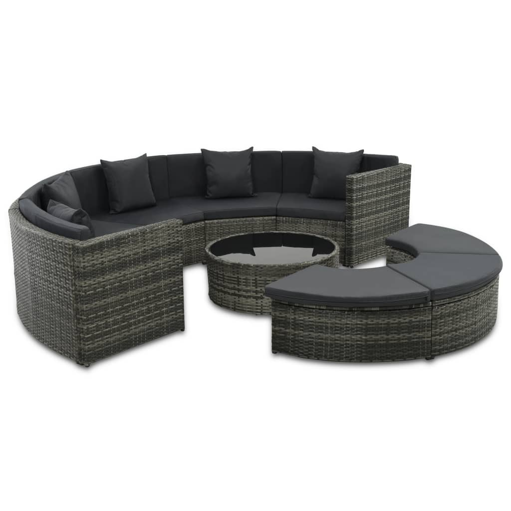 Garden Lounge Set, 7 Piece, with Cushions, Poly Rattan, Glass Tabletop, Grey