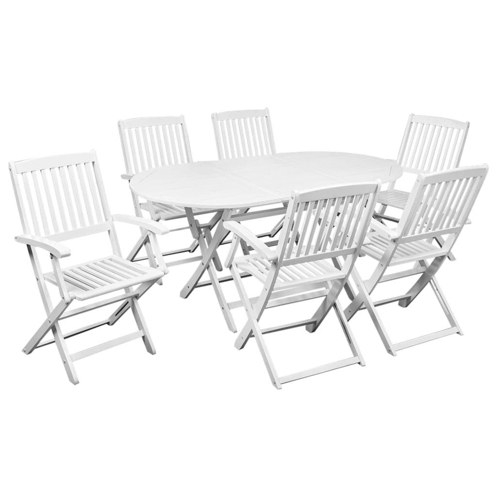 Folding Outdoor Dining Set, 7 Piece, Solid Acacia Wood, White