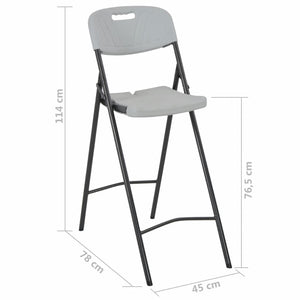 Folding Bar Chairs, Plastic and Steel, White (Set of 2)