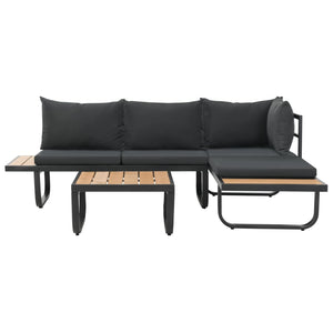Garden Corner Sofa Set, 2 Piece, with Cushions, Aluminium, WPC