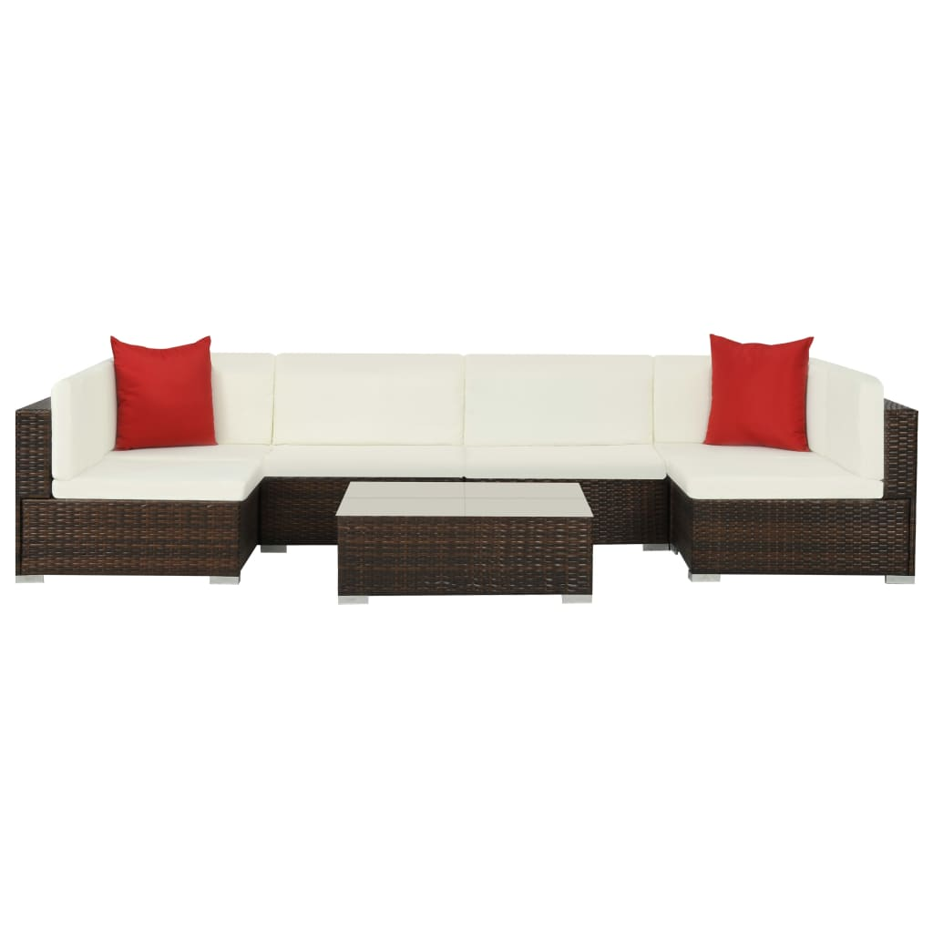 Garden Lounge Set, 7 Piece, with Cushions, Poly Rattan, Glass Tabletop, Brown and Cream White