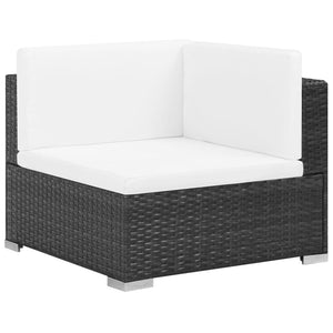 Garden Lounge Set, 6 Piece, with Cushions, Poly Rattan, Glass Tabletop, Steel Frame, Black and Cream White