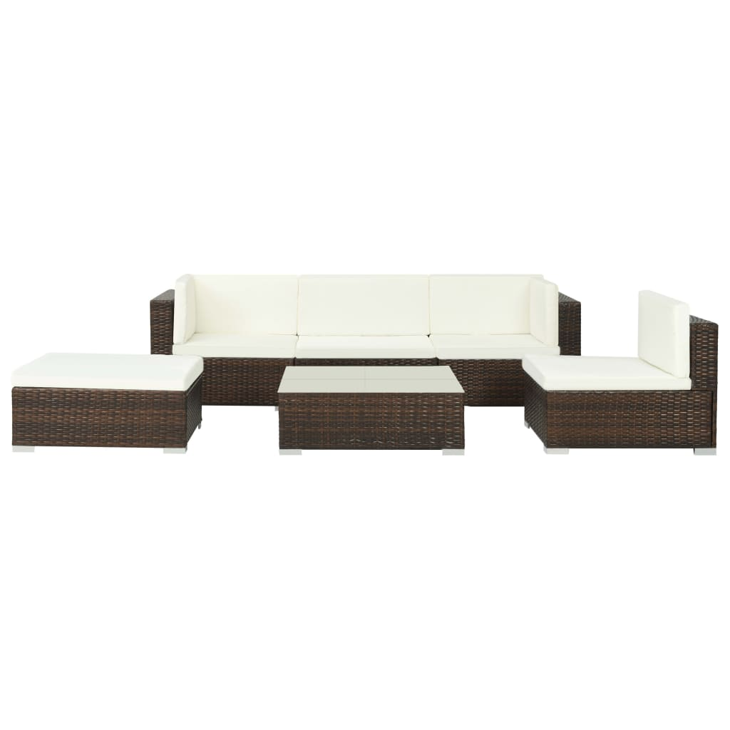 Garden Lounge Set, 6 Piece, with Cushions, Poly Rattan, Glass Tabletop, Steel Frame, Brown and Cream White