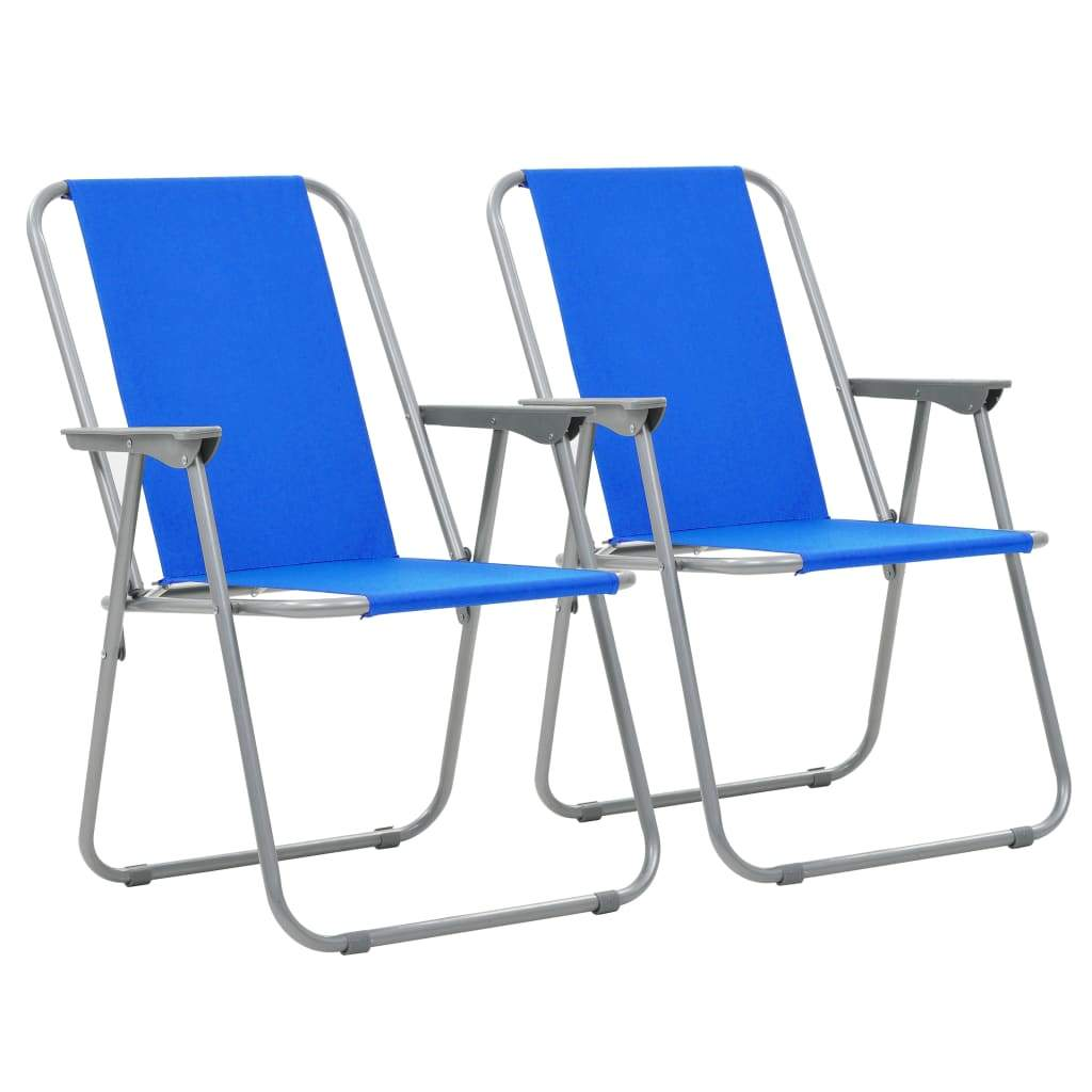 Folding Camping Chairs, Blue, 52x59x80cm (Set of 2)