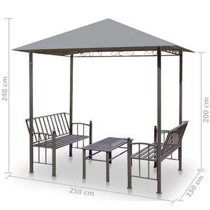 Garden Pavilion with Table and Benches, Anthracite, 2.5x1.5x2.4m