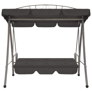 Outdoor Convertible Swing Bench, with Canopy, Steel, Anthracite 198x120x205cm