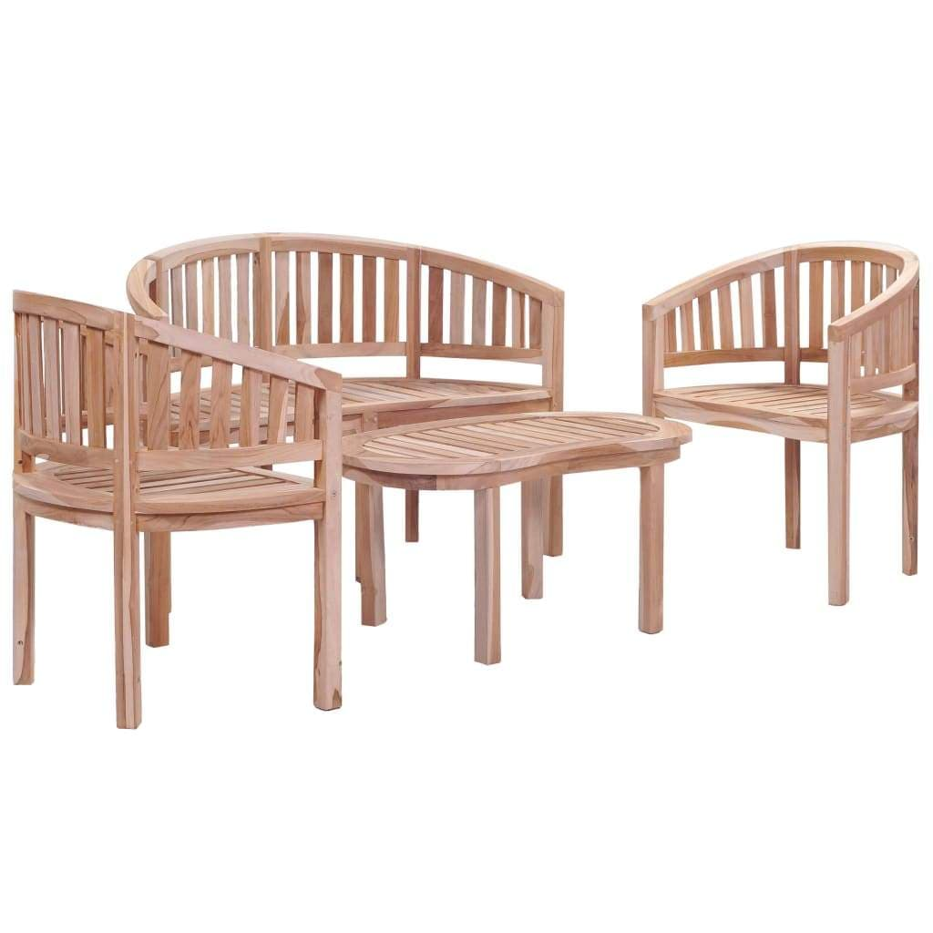 Outdoor Dining Set, Solid Teak Wood, 4 Piece