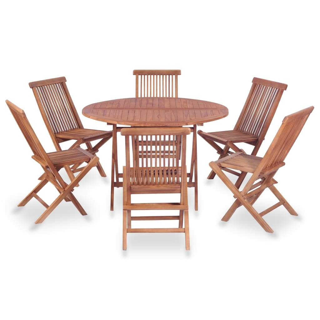 Outdoor Dining Set, 7 Piece, Solid Teak Wood