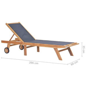 Folding Sun Lounger, with Wheels, Solid Teak and Textilene